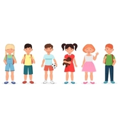 Happy cute school children kids collection set vector image