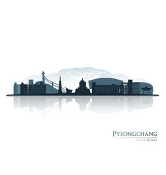pyeongchang skyline silhouette with reflection vector image vector image
