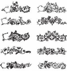 set of black decorative elements vector image vector image