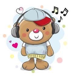 cute cartoon teddy bear with headphones vector image