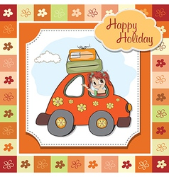 happy woman going on holiday by car vector image