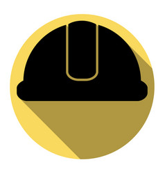hardhat sign flat black icon with flat vector image