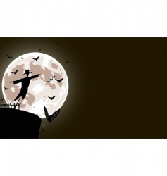 scarecrow with full moon vector image vector image