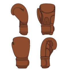 set of with brown boxing gloves vector image vector image