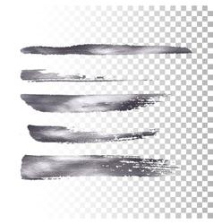 Silver metallic paint brush stroke set vector image