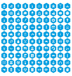 100 summer holidays icons set blue vector image
