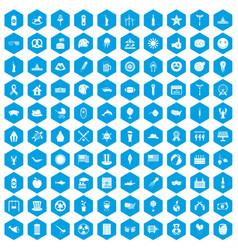 100 summer holidays icons set blue vector