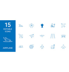 15 airplane icons vector
