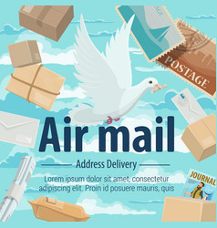 Air mail address delivery pigeon letters parsels vector
