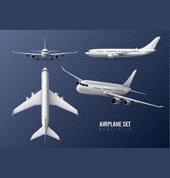 airplane realistic transparent set vector image
