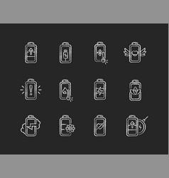 battery status chalk white icons set on black vector image