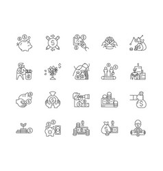 Benefits line icons signs set outline vector
