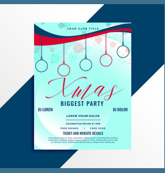 biggest christmas party flyer template vector image