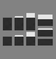black envelopes template set blank paper covers vector image