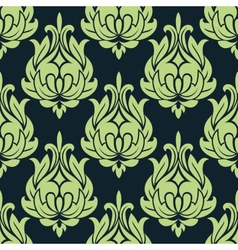 Blue and green vintage floral seamless pattern vector image
