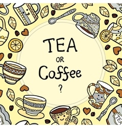 Card with doodle tea accessories and text vector image