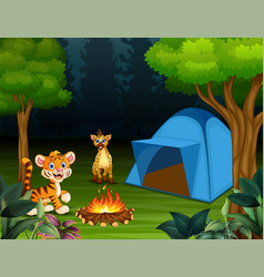 cartoon a baby tiger and hyena in the campsite vector image