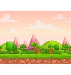 Cartoon seamless nature landscape vector image