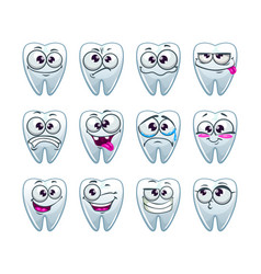 cartoon teeth characters with different emotions vector image