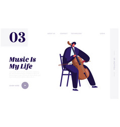 cellist playing on cello website landing page vector image