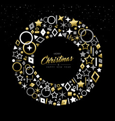 christmas and new year gold line icon wreath card vector image