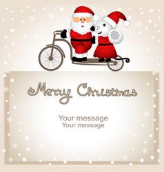 Christmas card year rat santa claus and vector
