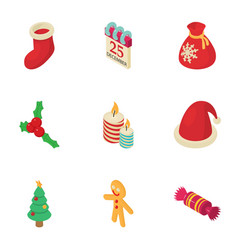 christmas fellowship icons set isometric style vector image