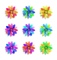 colored paper flowers set spring design vector image
