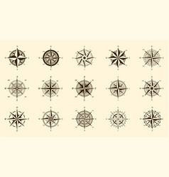 compass set north and south direction measure vector image