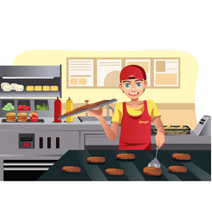 cooking at fast food vector image
