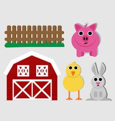 Cute farm pack vector