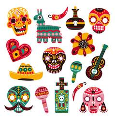 day dead decorative skulls guitar vector image