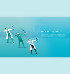 Doctor with bow aiming virus medical concept vector