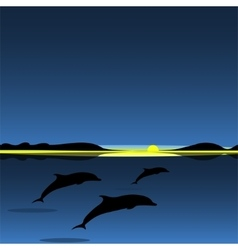 Dolphins family sea animal landscape vector