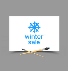 drawing winter sale on paper vector image