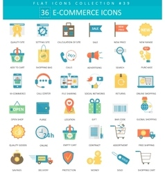 e-commerce color flat icon set Elegant vector image