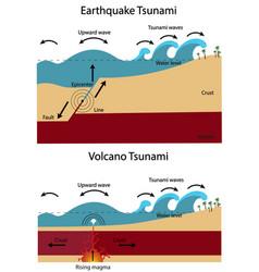 Earthquake tsunami and volcano tsunami vector