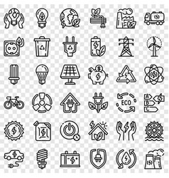 Energy saving icon set outline style vector