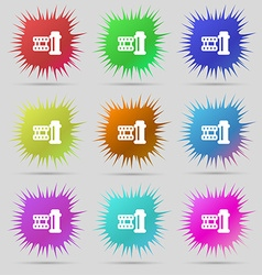 Film Icon sign A set of nine original needle vector