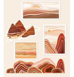 Flat abstract minimalist landscapes mountains vector