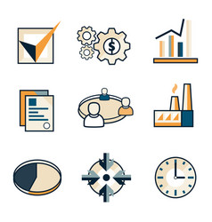 flat business web icons vector image