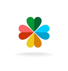 Four leaves colorful clover logo vector