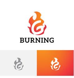 G letter burning hot flame fire gas danger logo vector