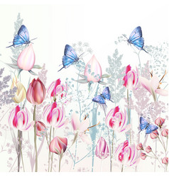 gentle pink tulip and crocus flowers vector image