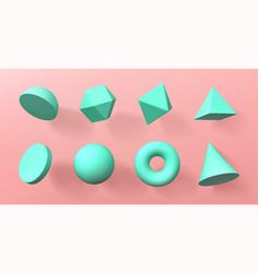 geometric 3d shapes voluminous geometry figures vector image