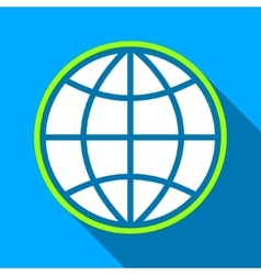 Globe Flat Long Shadow Square Icon vector image