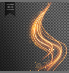 Golden wave transparent light effect background vector