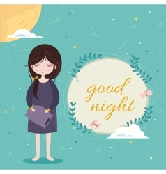 Good night card Cute girl in the sleepwear vector
