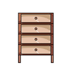 Grated cabinet archive file document with drawer vector