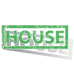 Green outlined HOUSE stamp vector
